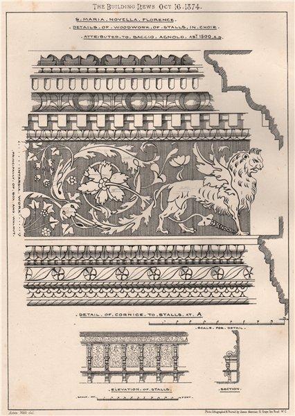 Associate Product St. Maria Novella, Florence. Woodwork stalls choir; Baccio Agnolo c1500 1874
