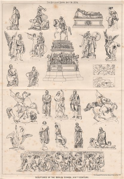 Associate Product Sculptures of the Berlin School, XIXth. Century 1874 old antique print picture