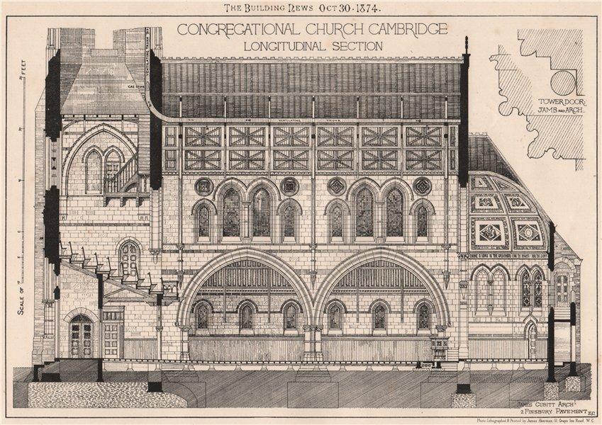 Associate Product Congregational Church, Cambridge. Longitudinal section; James Cubitt Archt 1874
