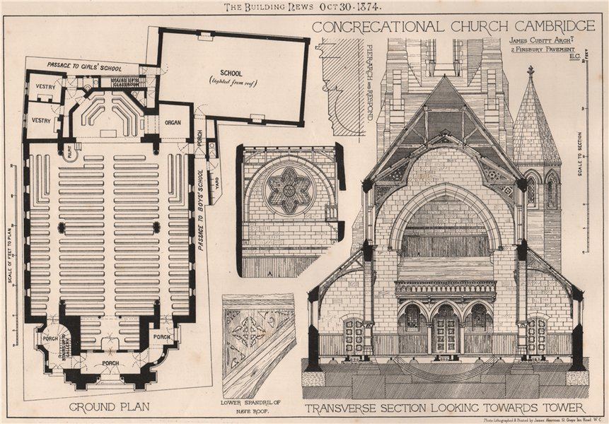 Associate Product Congregational Church. Cambridge; James Cubitt Architect 1874 old print