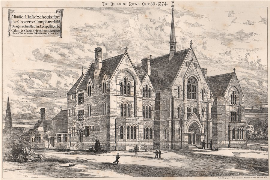 Associate Product Middle class schools for the Grocers' Company; design Giles & Gane Archts 1874