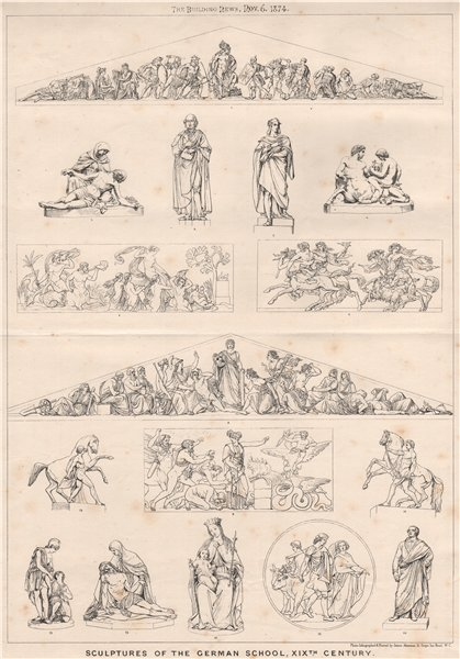 Associate Product Sculptures of the German School, XIXth. Century. Decorative 1874 old print