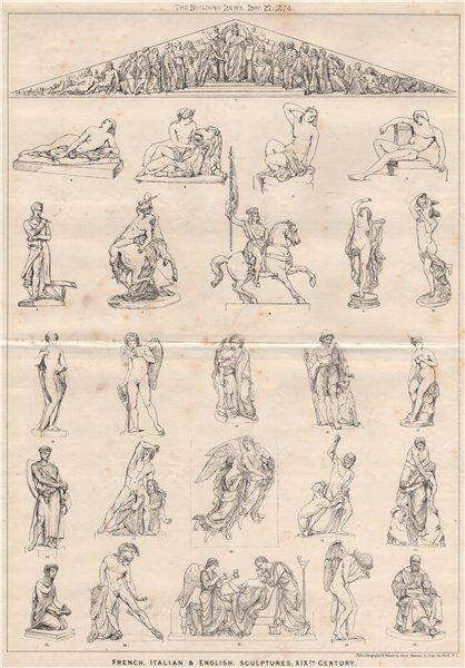 Associate Product French, Italian & English sculptures, XIXth. Century. Decorative 1874 print