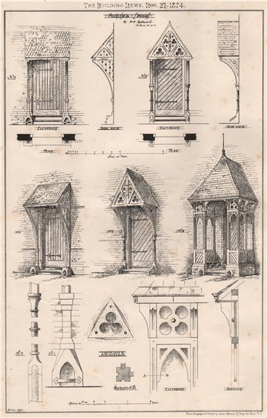 Associate Product Porches (Wood); by W.H. Lockwood, 10 John St. W.C.. London 1874 old print