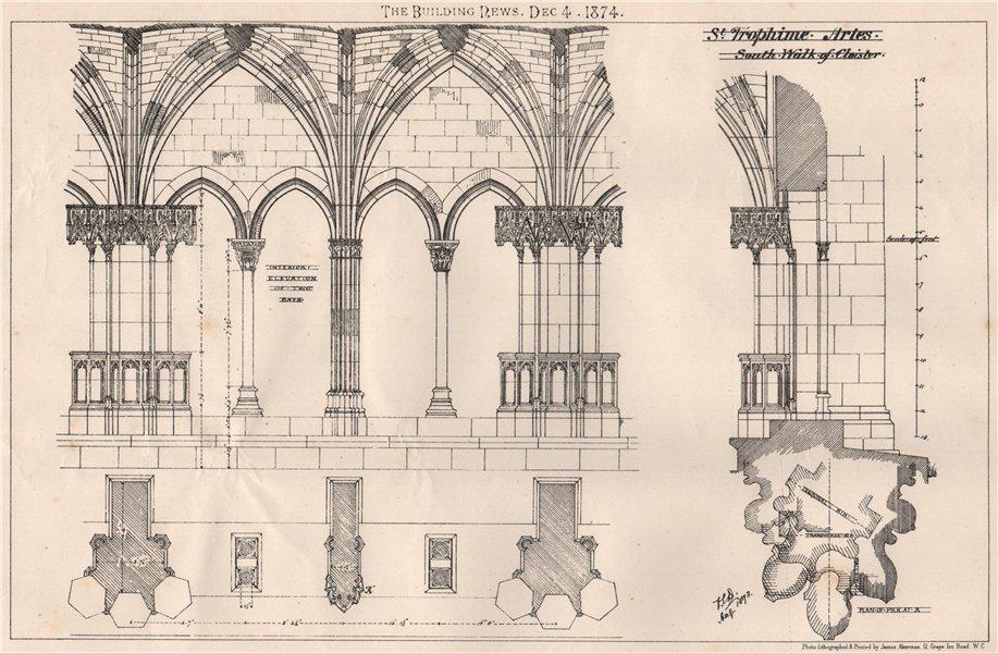 Associate Product St. Trophime, Arles; south walk of cloister. Bouches-du-Rhône 1874 old print