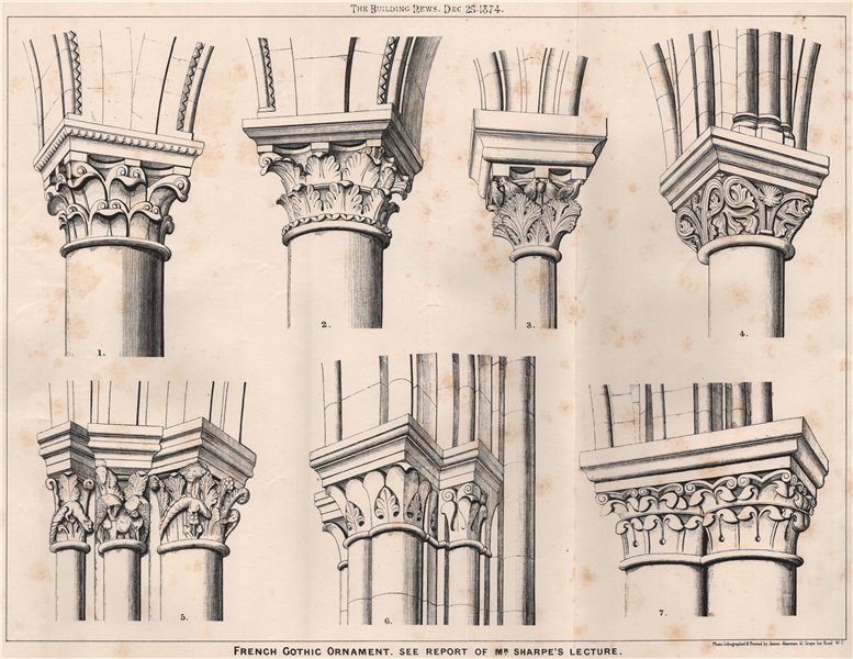 Associate Product French Gothic Ornament. See Report of Mr. Sharpe's Lecture. France 1874 print