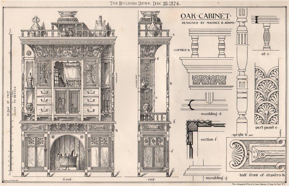 Associate Product Oak cabinet. Decorative (2) 1874 old antique vintage print picture