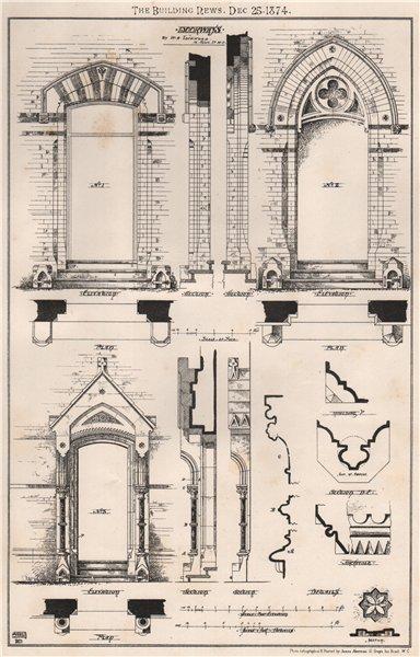 Associate Product Doorways; by W.H. Lockwood, 10. John St. W.C.. London 1874 old antique print