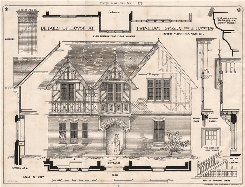 Associate Product House at Twineham, Sussex, for J.R. Corbett. Details; Robert W. Edis Archt 1875
