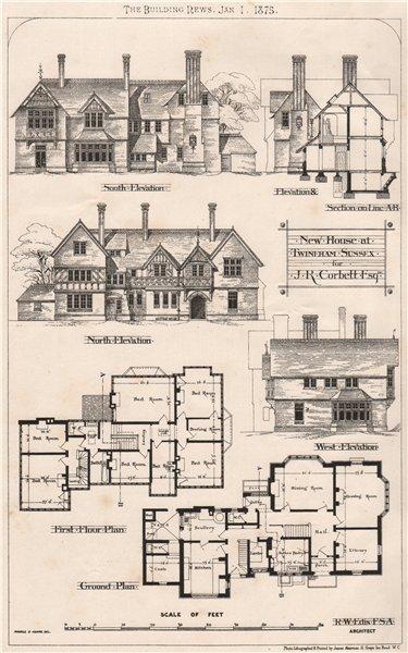 Associate Product New house at Twineham, Sussex for J.R. Corbett; R.W. Edis Architect 1875 print