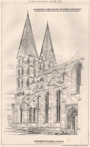 Associate Product Mediaeval brickwork M. north Germany; towers of St. Mary Lübeck 1875 old print