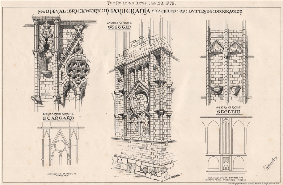 Associate Product Mediaeval brickwork in Pomerania; examples of buttress decoration. Germany 1875