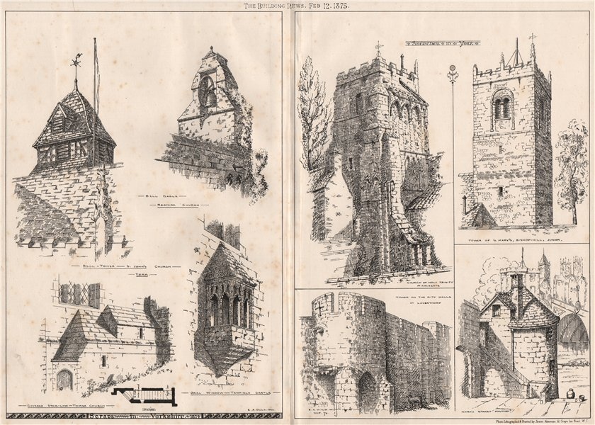 Associate Product Scraps in Yorkshire; sketches in York 1875 old antique vintage print picture