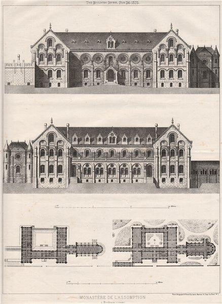 Associate Product Monastère de l'Assomption à Bordeaux (Gironde) 1875 old antique print picture