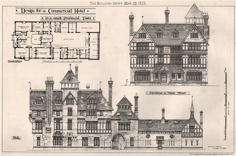 Design for a commercial hotel. Hospitality 1875 old antique print picture