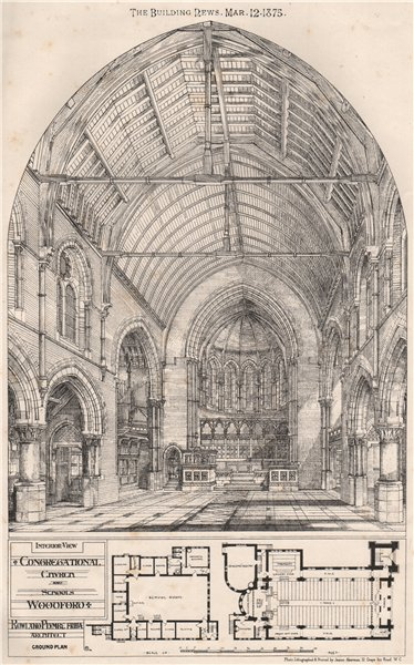 Associate Product Interior; Congregational church & schools, Woodford; Rowland Plumbe Archt  1875