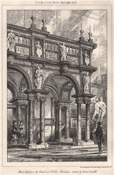 Associate Product Rood loft from the church of St. John, Bois le Duc. Netherlands 1875 old print