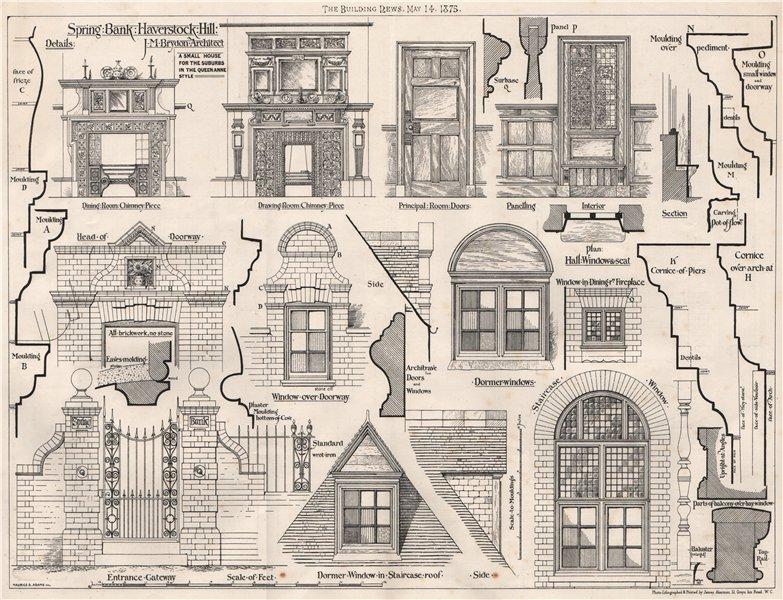 Associate Product Spring Bank, Haverstock Hill; J.M. Brydon, Architect. London 1875 old print
