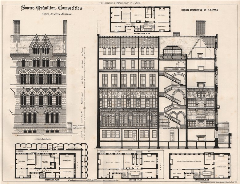 Associate Product Soane Medallion competition; design submitted by R.C. Page. Decorative 1875