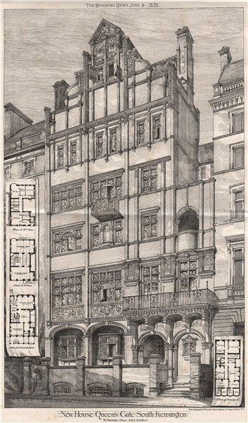 Associate Product New house, Queen's Gate, South Kensington; R. Norman Shaw Architect 1875 print