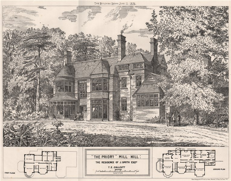 """Associate Product """"The Priory"""", Mill Hill; the residence of J. Smith; T.E. Collcutt Archt 1875"""