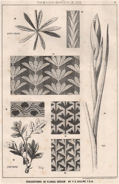 Associate Product Suggestions in Floral; Design by F.E. Hulme F.S.A.. Decorative (2) 1875 print