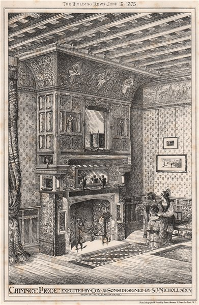 Associate Product Chimneypiece executed by Cox & Sons; designed by S.J. Nicholl, Architect 1875