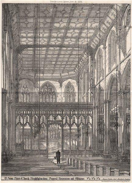 Associate Product Saint Peter's church, Brighton; Somers Clarke Jr. Architect 1875 old print