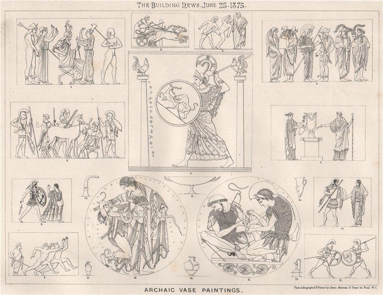 Associate Product Archaic vase paintings. Decorative 1875 old antique vintage print picture