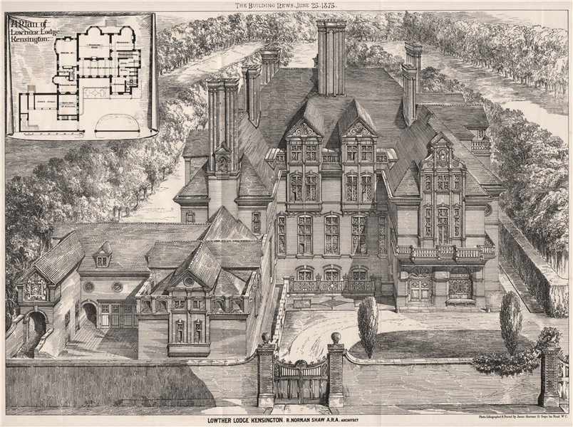Associate Product Lowther Lodge, Kensington; R. Norman Shaw A.R.A. Architect. London 1875 print