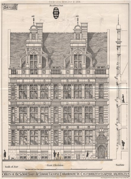 Associate Product Chimney stack; Offices of the School Board for London, Victoria Embankment 1875