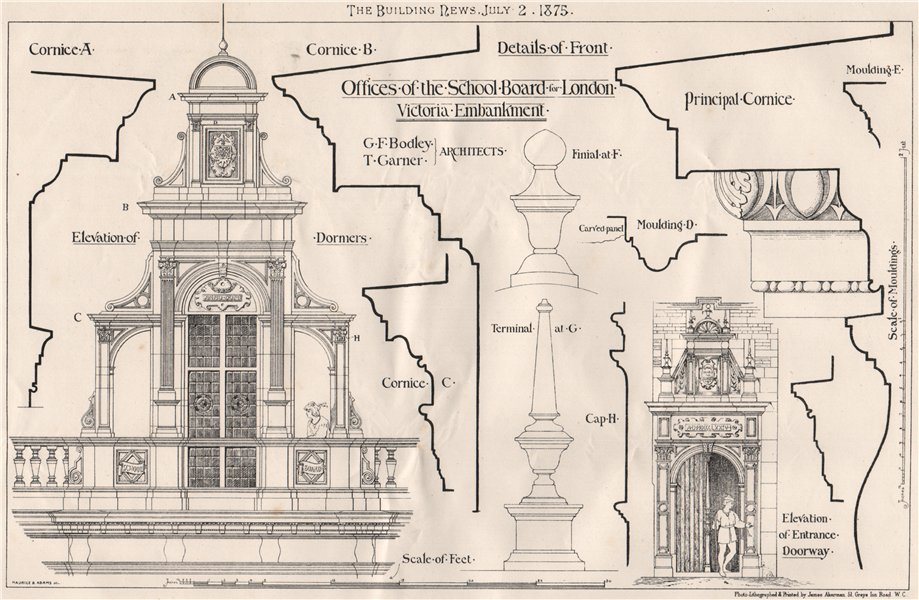Associate Product School Board for London offices Victoria Embankment; Bodley & Garner Archts 1875