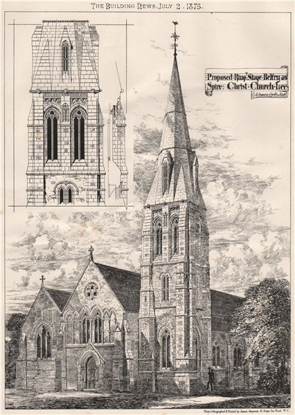 Associate Product Ring stage, belfry & spire, Christ Church, Lee; E. Francis Clarke Archt 1875
