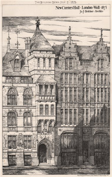 Associate Product New Curriers Hall, London Wall, 1875; J. & J. Belcher, Architects 1875 print