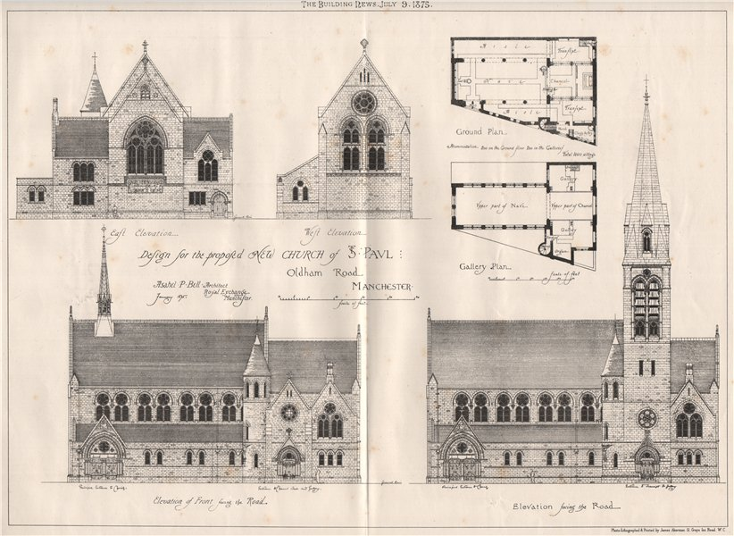 Associate Product St. Paul's church, Oldham Road; Asahel P. Bell, Architect. Manchester 1875