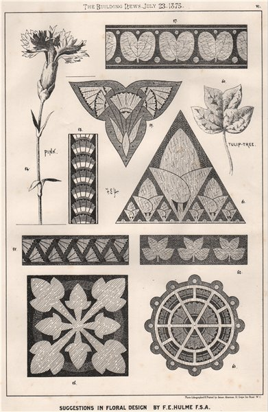 Associate Product Suggestions in Floral; Design by F.E. Hulme F.S.A.. Decorative (5) 1875 print