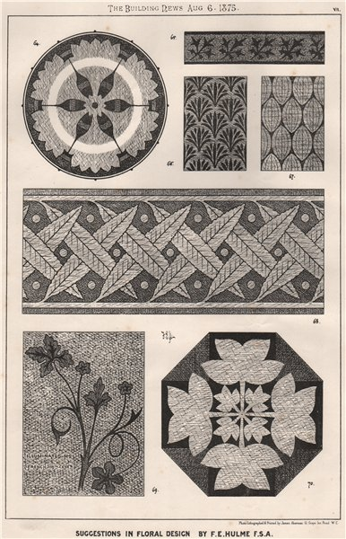 Associate Product Suggestions in Floral; Design by F.E. Hulme F.S.A.. Decorative (6) 1875 print