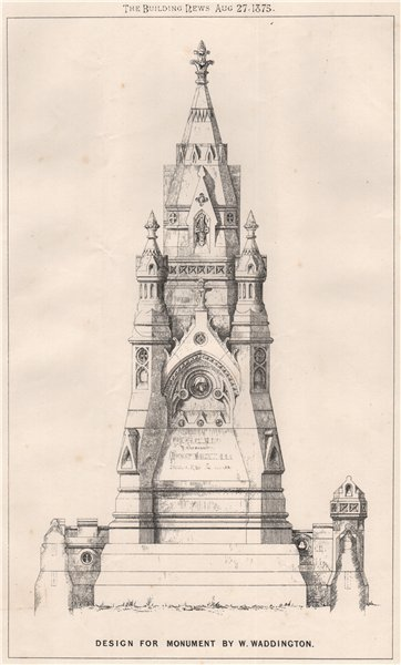 Associate Product Design for monument by W. Waddington. Architecture 1875 old antique print