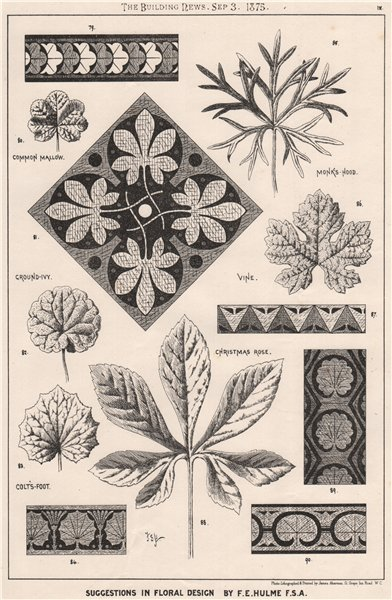 Associate Product Suggestions in Floral; Design by F.E. Hulme F.S.A.. Decorative (8) 1875 print