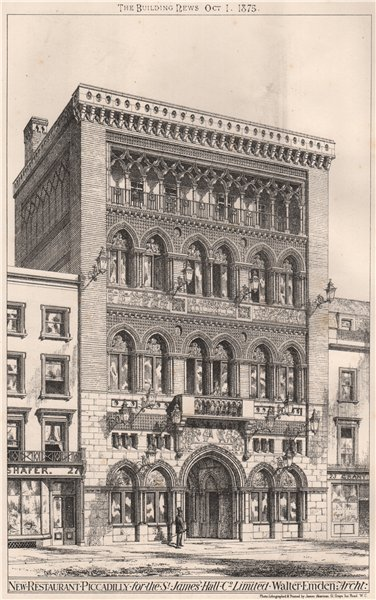Associate Product Restaurant, Piccadilly, for the St. James Hall Co. Limited; Walter Emden 1875