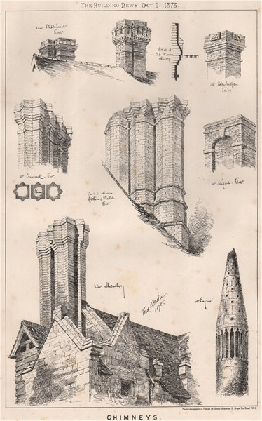 Associate Product Chimneys . Architecture 1875 old antique vintage print picture