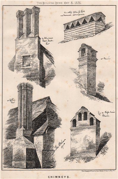 Associate Product Chimneys . Architecture (2) 1875 old antique vintage print picture