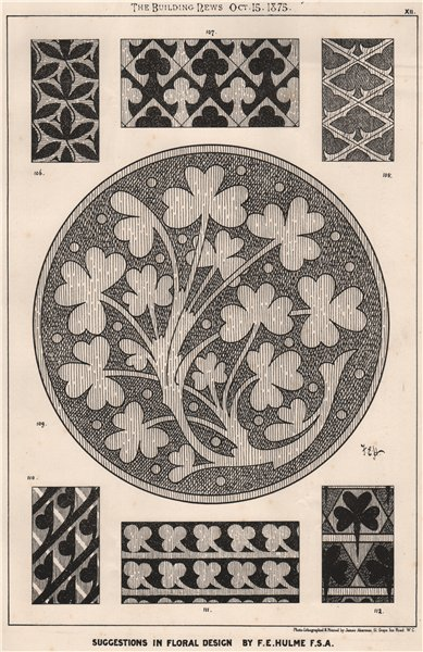 Associate Product Suggestions in Floral; Design by F.E. Hulme F.S.A. Decorative 1875 old print