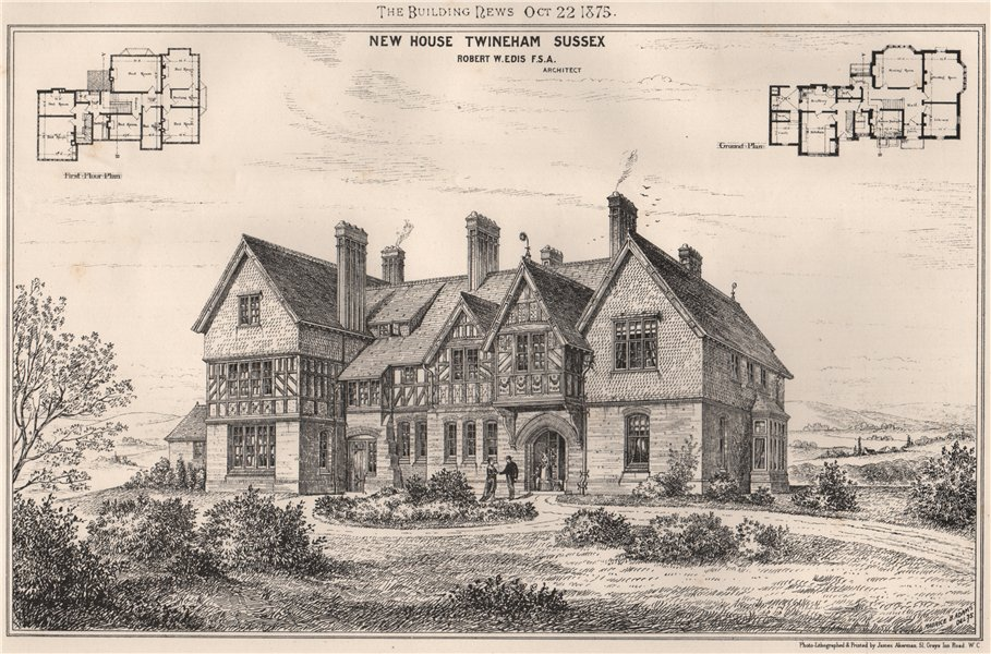 Associate Product New House, Twineham, Sussex; Robert W. Edis F.S.A. Architect 1875 old print