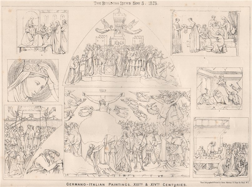 Associate Product Germano-Italian paintings XIIIth. & XIVth. centuries. Fine arts 1875 old print