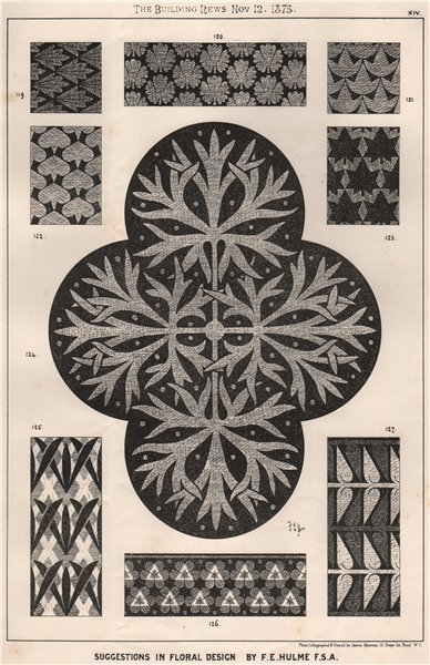 Associate Product Suggestions in Floral; Design by F.E. Hulme F.S.A.. Decorative (12) 1875 print