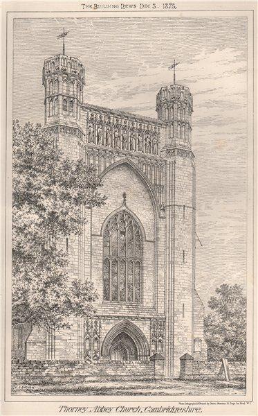 Associate Product Thorney Abbey church, Cambridgeshire 1875 old antique vintage print picture