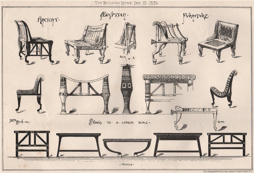 Associate Product Ancient Egyptian furniture (2) 1875 old antique vintage print picture