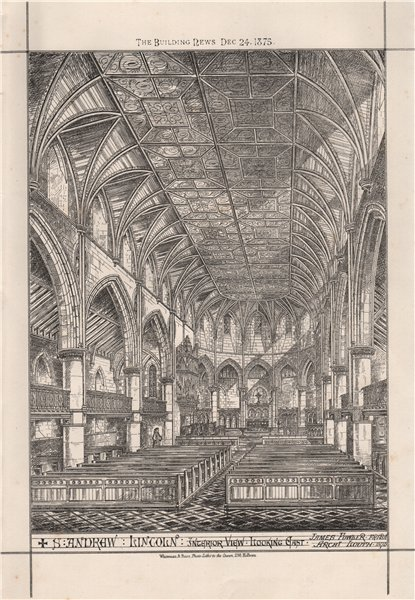 Associate Product St. Andrew, Lincoln; interior view. James Fowler Architect 1875 old print