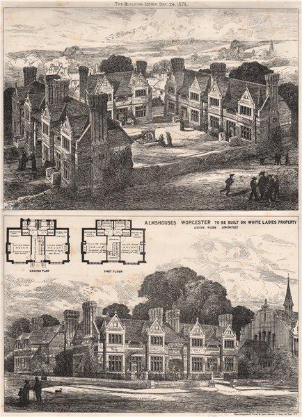 Associate Product Almshouses, Worcester, White Ladies Property; Aston Webb Architect 1875 print